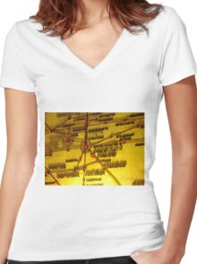 Railway Map Women's Fitted V-Neck T-Shirt