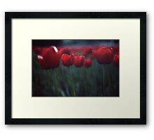 Red Tulips On Green Framed Print
