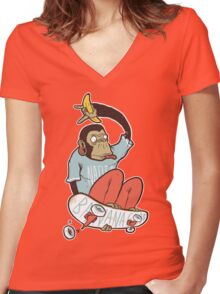 banana grab Women's Fitted V-Neck T-Shirt