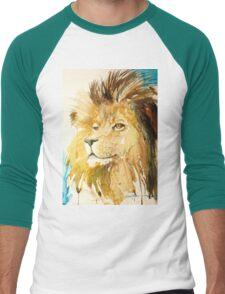 Lion watercolor by Daniel Adams Men's Baseball ¾ T-Shirt