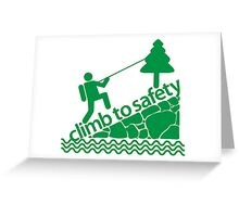 Climb To Safety Green Greeting Card