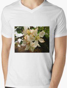 White Flowers Mens V-Neck T-Shirt