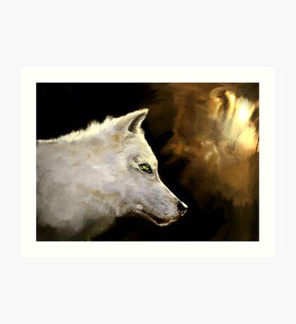 Wolf Profile 3-B Art Print
