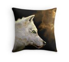 Wolf Profile 3-B Throw Pillow
