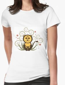Cute Baby Lion Vector Illustration Womens Fitted T-Shirt
