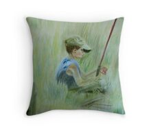Ivan and the Red Rod - Original Pastel on paper Throw Pillow