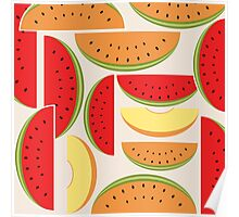 Watermelons Colorful Vector Illustration Poster