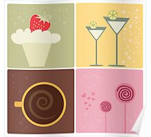 Cafe Coffee & Chocolate Vector Illustration Poster