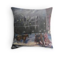 Winter Evening at the Plaza, New York City, 1900's Throw Pillow