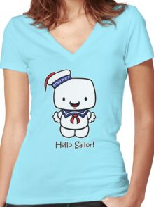 Hello Sailor! Women's Fitted V-Neck T-Shirt