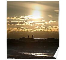 winter sunset on silver beach 2 Poster