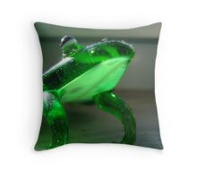 hello there. im a sparkly frog.  Throw Pillow