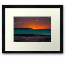 Warm sunset over the beach of Whitstable in Kent Framed Print