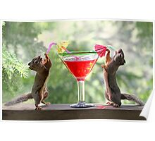 Squirrels at Happy Hour Poster
