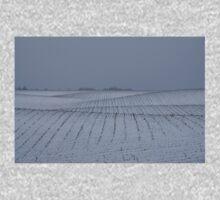 Winter Farm Fields - Rolling Hills on a Bleak Snowy Day Baby Tee