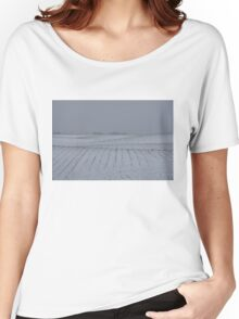Winter Farm Fields - Rolling Hills on a Bleak Snowy Day Women's Relaxed Fit T-Shirt