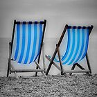 Two Blue Deckchairs by Karen Martin