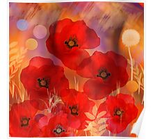 Hot summer poppies Poster