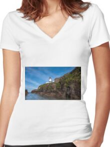 Fanad Head Lighthouse Women's Fitted V-Neck T-Shirt