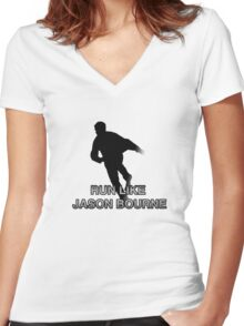Run Like Jason Bourne (2.0) Women's Fitted V-Neck T-Shirt