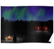 Campfire under the Aurora Poster