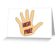 High Five! in comic style Greeting Card
