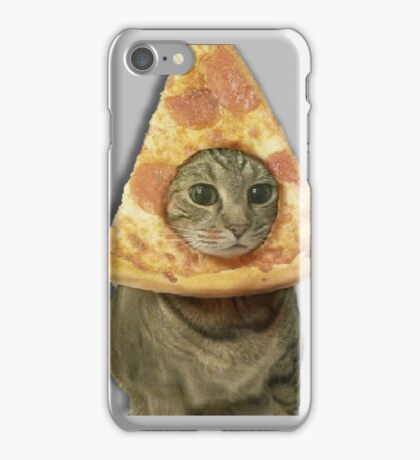 Cat with Pizza Head iPhone Case/Skin