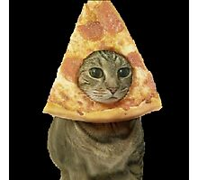 Cat with Pizza Head Photographic Print