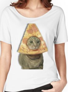 Cat with Pizza Head Women's Relaxed Fit T-Shirt