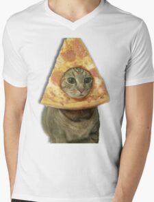 Cat with Pizza Head Mens V-Neck T-Shirt