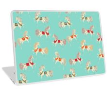 Dancing Horse in Turquoise Background Pattern Laptop Skin