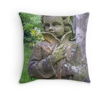 Statue with lichens. Throw Pillow