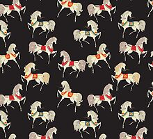 Dancing Horse in Black Background Pattern by MyArt23