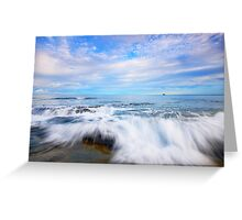 Rocks and waves at Kings Beach, QLD. Greeting Card