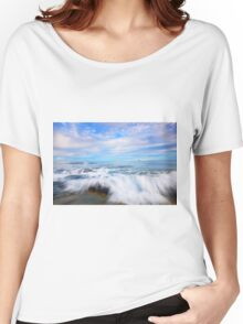 Rocks and waves at Kings Beach, QLD. Women's Relaxed Fit T-Shirt