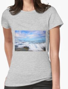 Rocks and waves at Kings Beach, QLD. Womens Fitted T-Shirt