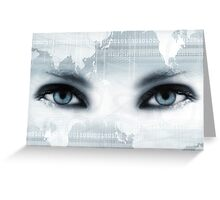Bue eyes and map Greeting Card