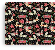 Dancing Horse with Red Rose Flower in Black Background Pattern Canvas Print