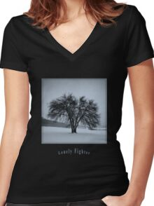 Lonely Figher Women's Fitted V-Neck T-Shirt