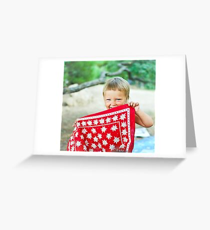 playful Dana hides her face behind the bandanna Greeting Card