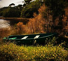 A green boat at Strahan, Tasmania by Elana Bailey