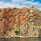 landscape with the rock and the Genoese fortress by Iuliia Dumnova
