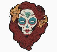 Sugar Skull Girl in Burgundy, White and Green Kids Clothes