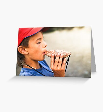 boy playing music on the whistle Greeting Card