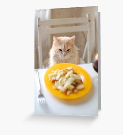 cat sitting at the laid table Greeting Card