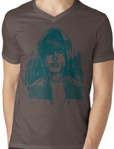 Striped Hoodie Mens V-Neck T-Shirt