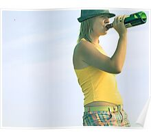 girl drinks wine from a bottle Poster