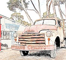 Old Truck at the Garage by John Wallace