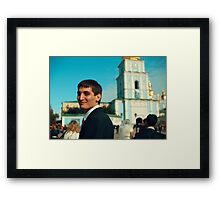 Portrait of a guy in the background of St. Sophia's Cathedral Framed Print