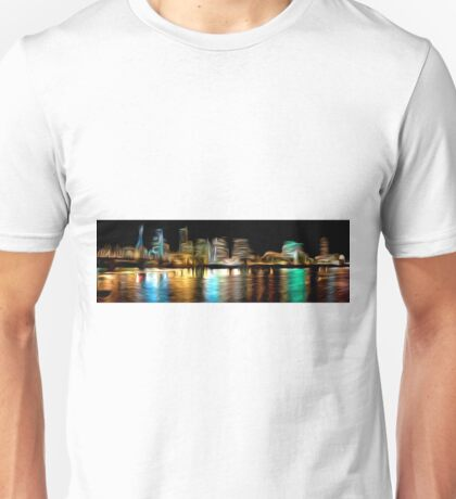 Portland Oregon Nightscape Abstract Oil Painting Unisex T-Shirt